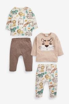 4 комплекта из футболки и леггинсов с принтом (0 мес. - 2 лет)
