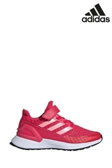 Розовые/белые беговые кроссовки для подростков на липучках adidas RapidaRun