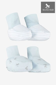The Little Tailor Blue Rocking Horse Jersey Booties