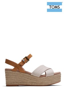 TOMS White Willow Cross Strap Wedges