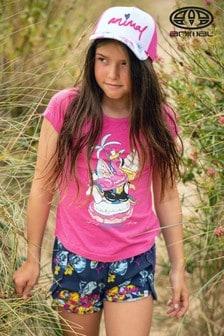 Animal T-Shirt mit Schwimmring-Grafik, rosa-meliert