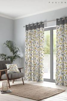 Fusion Yellow Beechwood Eyelet Curtains