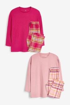 2 Pack Woven Straight Leg Pyjamas (3-16yrs)