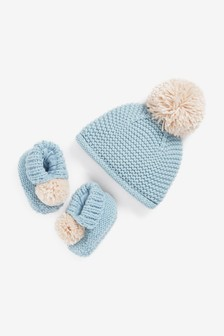 Chunky Knit Pom Hat And Bootie Set (Younger)