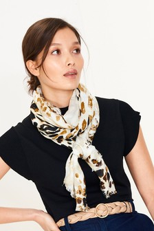 Neutral Print Lightweight Scarf