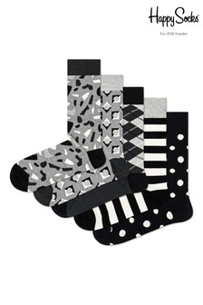 Lot de cinq paires de chaussettes Happy Socks noires et grège