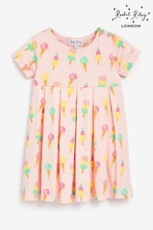 Rachel Riley女嬰裝粉色雪糕圖案平織連衣裙