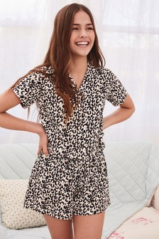 Leopard Print Button Through Pyjamas (2-16yrs)