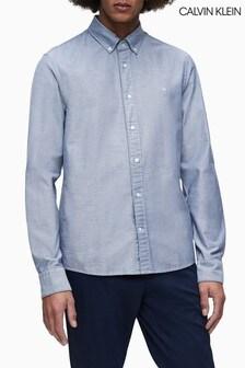 Calvin Klein Blue Slim Fit Stretch Oxford Shirt