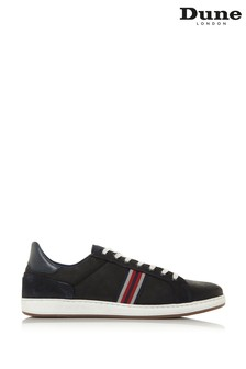 Dune London Torontos Navy Nubuck Embroidered Stripe Trainers