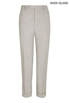 River Island Grey Skinny Herringbone Trousers