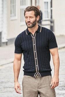 Strukturiertes, durchgeknöpftes Strick-Poloshirt