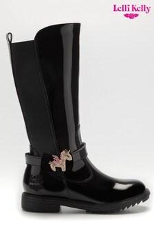 Lelli Kelly Black Patent Tall Unicorn Boots
