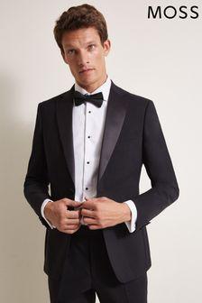 Jachetă elegantă cu croi ajustat și scobitură Moss 1851 neagră