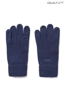 GANT Blue Knitted Wool Gloves