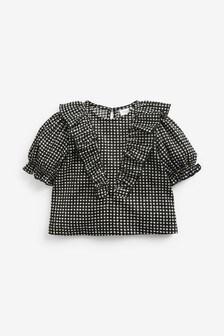 Блузка в клеточку с оборками  (3 мес.-7 лет)