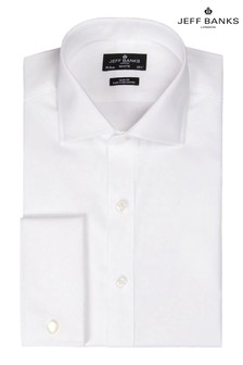 חולצה בגזרה צרה עם חפתים כפולים עם צווארון גזירים בצבע לבן של Jeff Banks