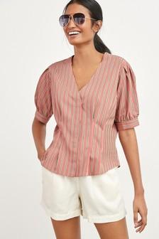 Блузка в полоску с рукавами-баллонами