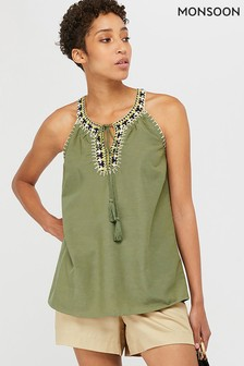 Monsoon Khaki Cressida Crochet Cami