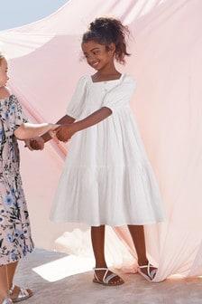 Платье с вышивкой ришелье и пуговицами (3-16 лет)