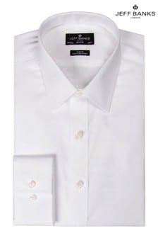 Белая зауженная рубашка с отложным воротником и прямыми манжетами Jeff Banks