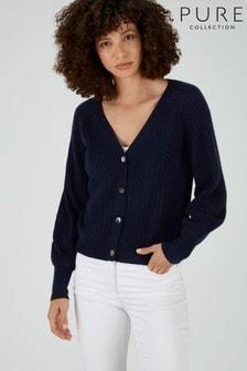 Pure Collection - Cardigan blu a coste con maniche a sbuffo