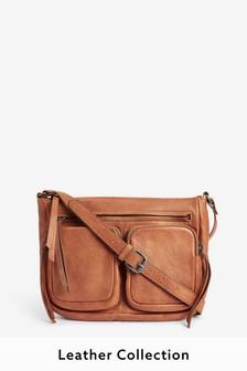 Кожаная сумка через плечо с карманами