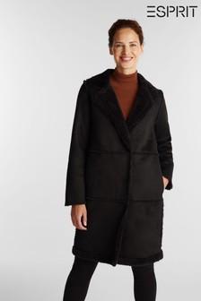 מעיל דמוי פרווה של Esprit בצבעשחור