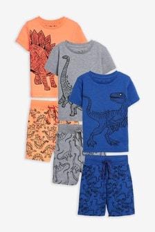 Пижамы с шортами и рисунком динозавра, 3 шт. (9 мес. - 12 лет)