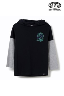 Animal Koal Langärmeliges T-Shirt mit Kapuze, schwarz