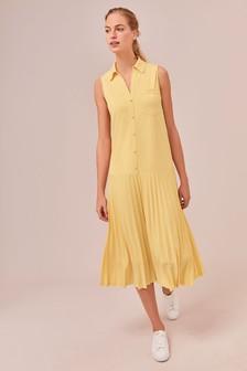 Плиссированное платье-рубашка без рукавов