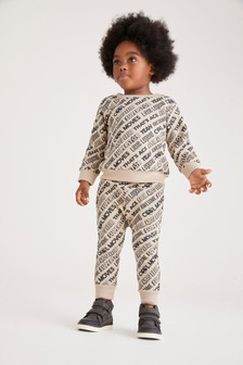 All Over Print Slogan Jersey Crew And Joggers Set (3mths-7yrs)