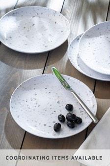 Set of 4 Terrazzo Effect Melamine Salad Plates