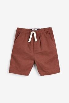 Свободные шорты из смешанного льна с поясом на резинке  (3 мес.-7 лет)