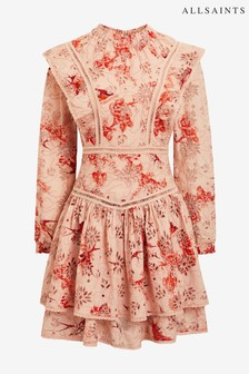 AllSaints Pink Aislyn Floral Broderie Dress