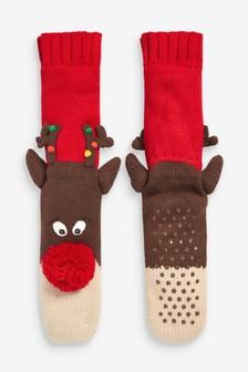 Hausschuh-Socken mit Weihnachtsmotiven