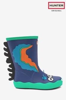 Hunter Kids Blue First Sea Slug Sid Character Wellington Boots
