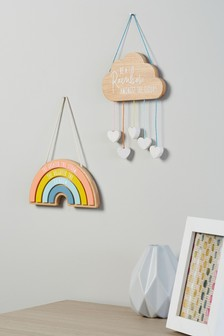 Set of 2 Rainbow & Cloud Hanging Decorations