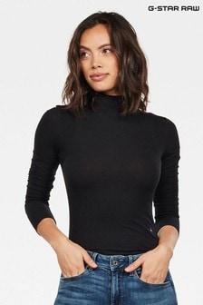 G-Star Traction Slim Body T-Shirt mit Trichterkragen, schwarz