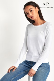 Armani Exchange White Sweat Top