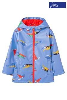 Joules Blue Skipper Printed Rubber Coat