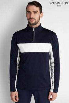 Calvin Klein - Blauwe golfsweater met reliëf en korte rits