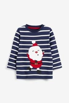 Трикотажная футболка с длинным рукавом и аппликацией в виде Санта-Клауса (3 мес.-7 лет)