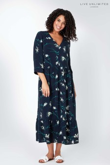 Live Unlimted Navy Floral Print Tiered Dress
