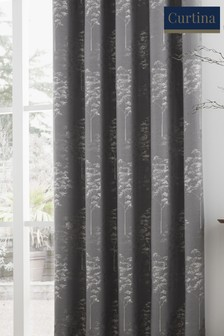 Curtina Elmwood Jacquard Lined Eyelet Curtains