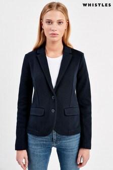 Whistles Navy Slim Jersey Jacket