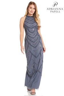 Adrianna Papell Grey Bead Halter Column Dress