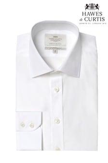 Camisa entallada en blanco con puño sencillo y diseño de fácil planchado de Hawes & Curtis