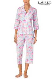 Set pijama clasic din țesătură cu pantaloni capri și bluză cu mânecă 3/4 și guler cu tăietură în formă de V Lauren Ralph Lauren®