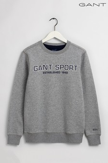 GANT Grey Sport Crew Neck Sweater